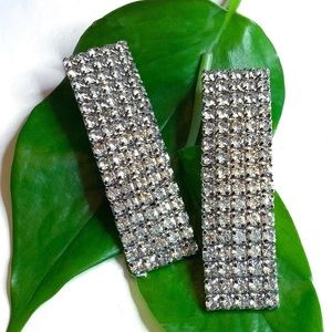 Jewelry - Rectangle Crystal Pave Post Back Earrings